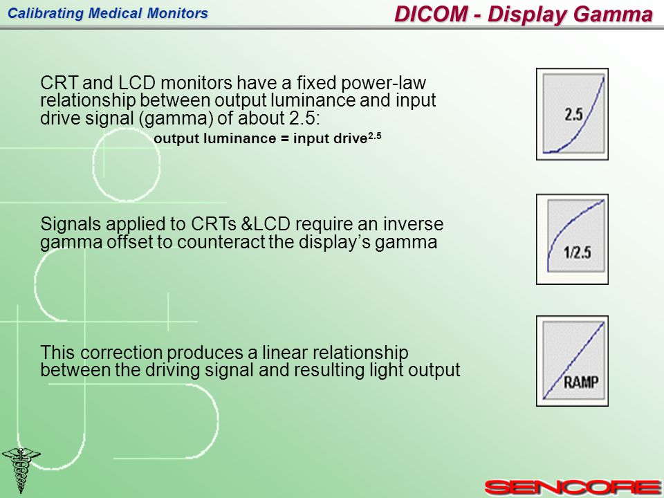 Calibrating Medical Monitors DICOM - Display Gamma CRT and LCD monitors have a fixed power-law relationship between output luminance and input drive signal (gamma) of about 2.5: output luminance = input drive 2.5 Signals applied to CRTs &LCD require an inverse gamma offset to counteract the display's gamma This correction produces a linear relationship between the driving signal and resulting light output