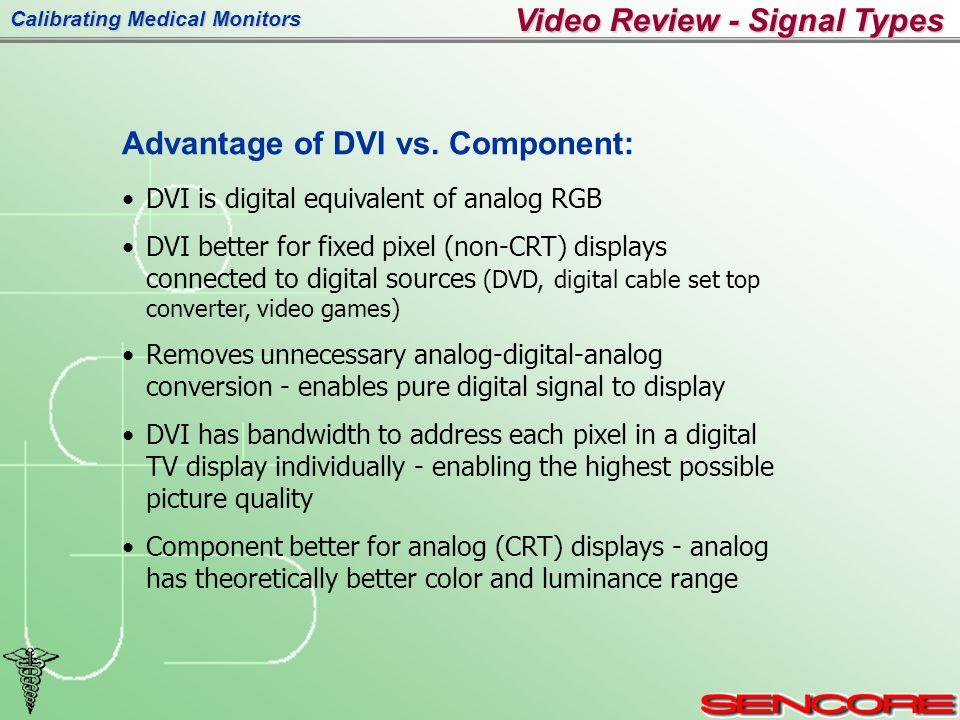 Calibrating Medical Monitors Video Review - Signal Types Advantage of DVI vs.