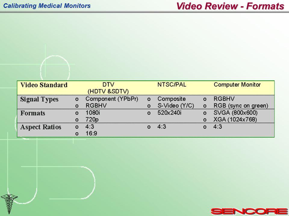 Calibrating Medical Monitors Video Review - Formats
