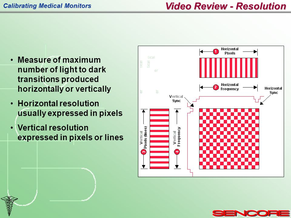 Calibrating Medical Monitors Measure of maximum number of light to dark transitions produced horizontally or vertically Horizontal resolution usually expressed in pixels Vertical resolution expressed in pixels or lines Video Review - Resolution