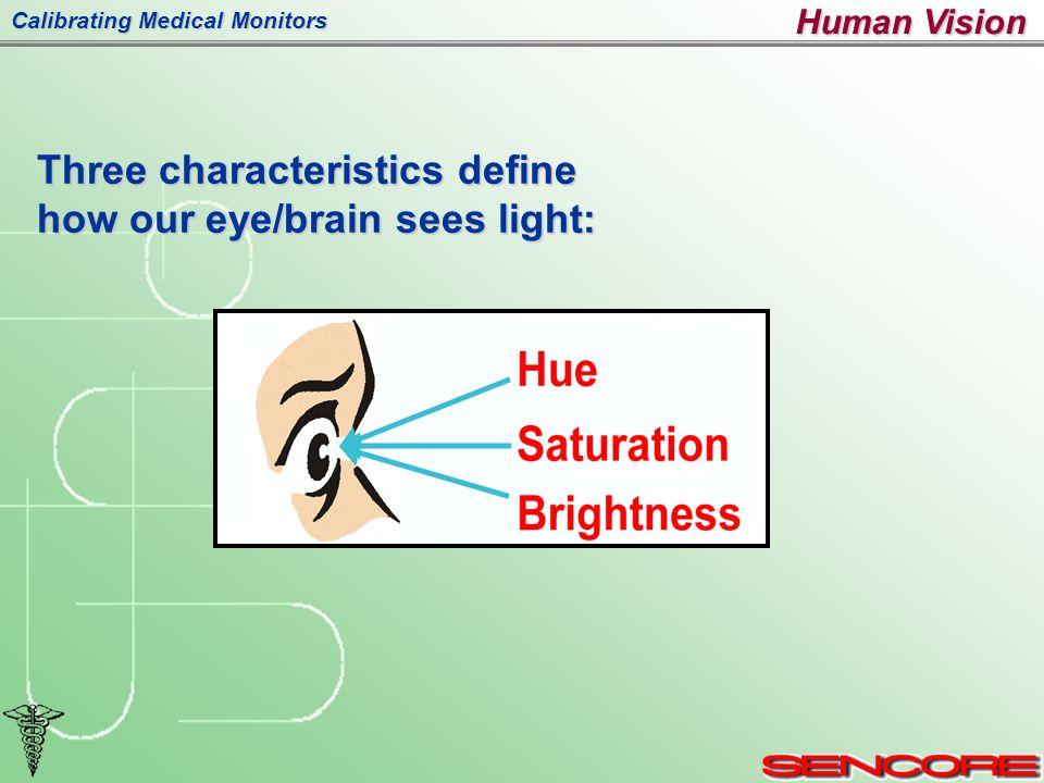 Calibrating Medical Monitors Three characteristics define how our eye/brain sees light: Human Vision