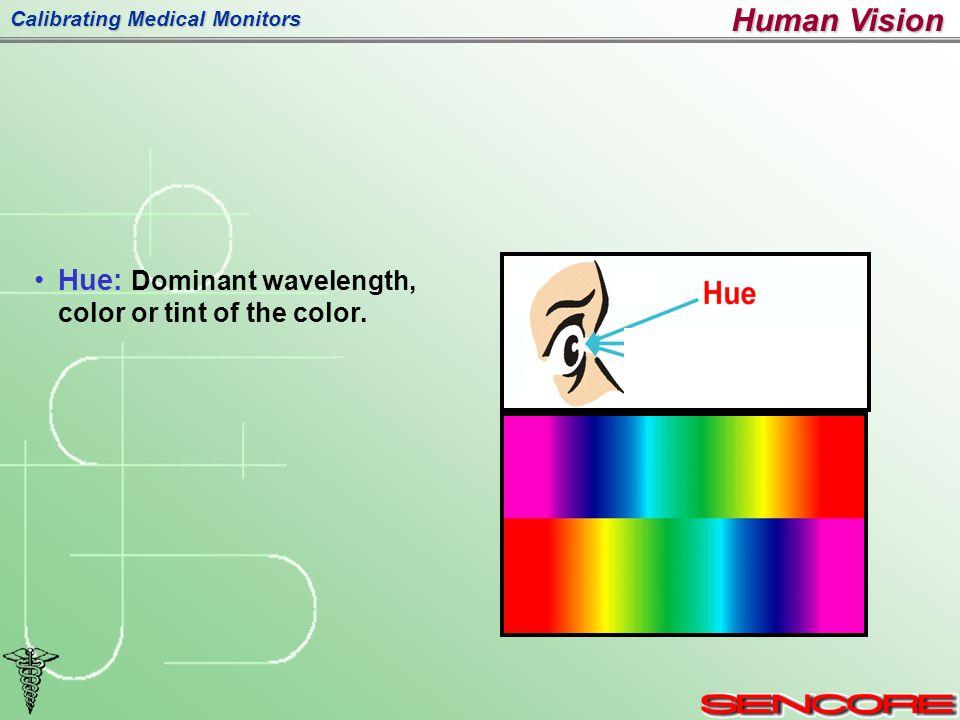 Calibrating Medical Monitors Hue: Dominant wavelength, color or tint of the color. Human Vision