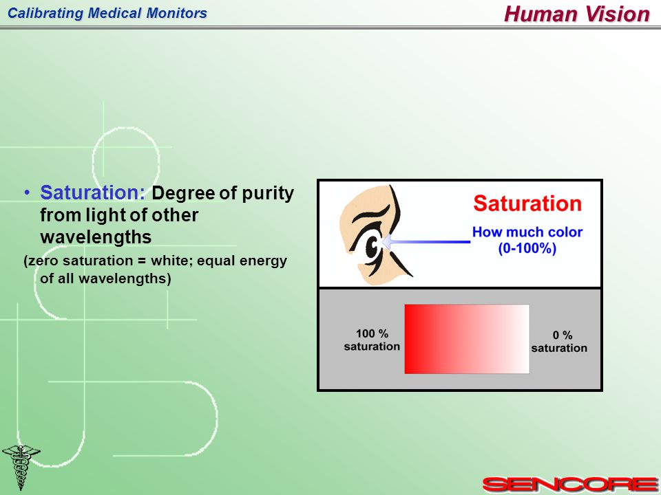 Calibrating Medical Monitors Saturation: Degree of purity from light of other wavelengths (zero saturation = white; equal energy of all wavelengths) Human Vision