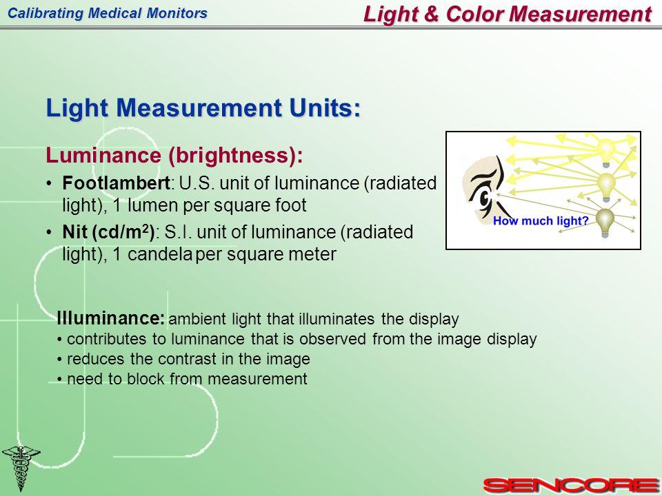 Calibrating Medical Monitors Light Measurement Units: Luminance (brightness): Footlambert: U.S.