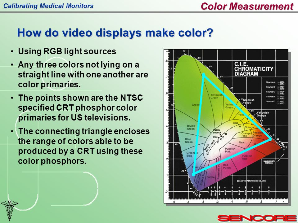 Calibrating Medical Monitors Using RGB light sources Any three colors not lying on a straight line with one another are color primaries.
