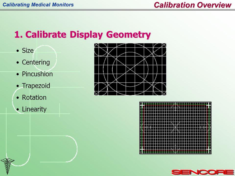 Calibrating Medical Monitors Size Centering Pincushion Trapezoid Rotation Linearity 1.