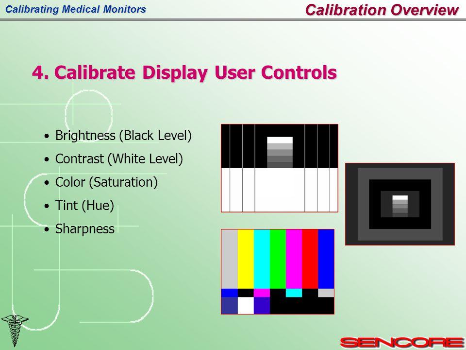 Calibrating Medical Monitors Calibration Overview Brightness (Black Level) Contrast (White Level) Color (Saturation) Tint (Hue) Sharpness 4.