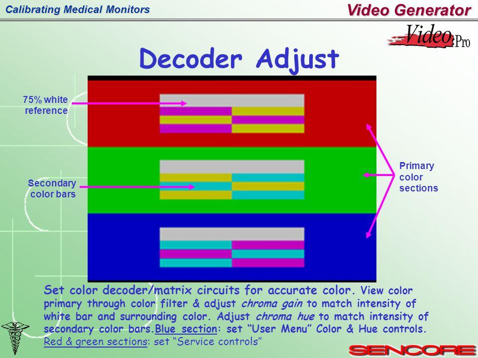 Calibrating Medical Monitors Decoder Adjust Video Generator Set color decoder/matrix circuits for accurate color.