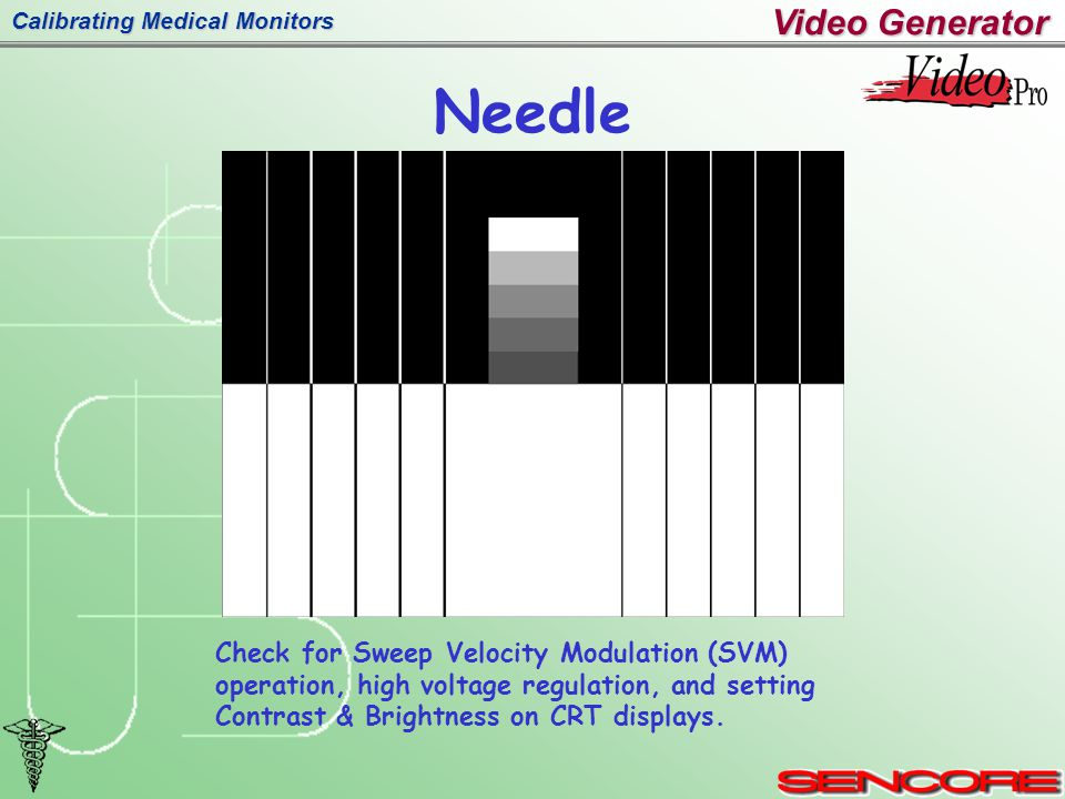 Calibrating Medical Monitors Needle Check for Sweep Velocity Modulation (SVM) operation, high voltage regulation, and setting Contrast & Brightness on CRT displays.