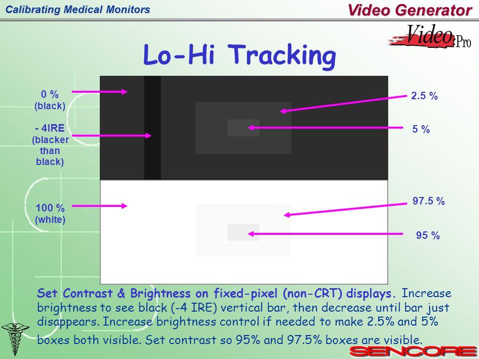 Calibrating Medical Monitors Lo-Hi Tracking Video Generator Set Contrast & Brightness on fixed-pixel (non-CRT) displays.