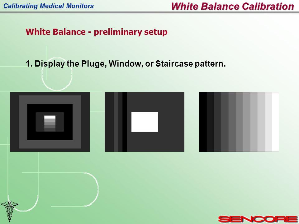 Calibrating Medical Monitors White Balance - preliminary setup 1.