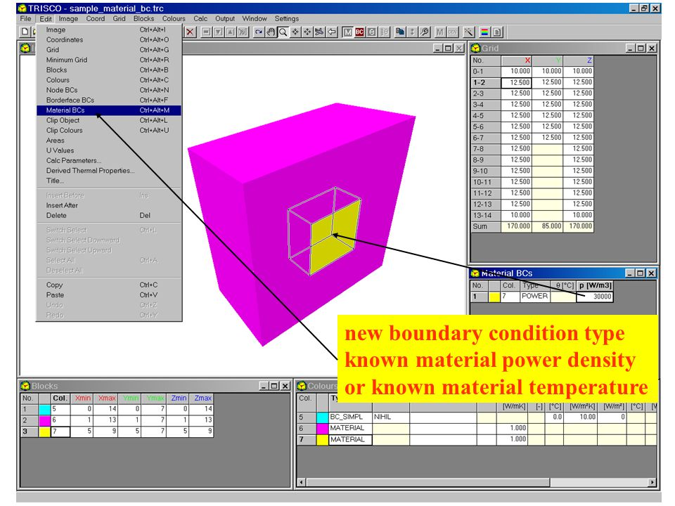 new boundary condition type known material power density or known material temperature