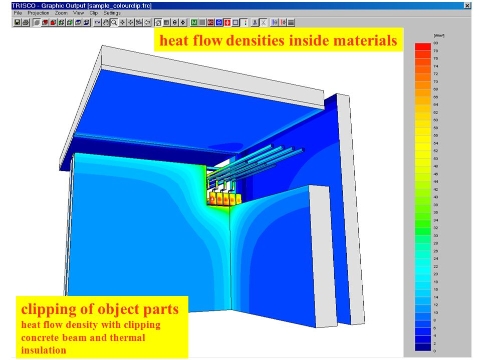 clipping of object parts heat flow density with clipping concrete beam and thermal insulation heat flow densities inside materials