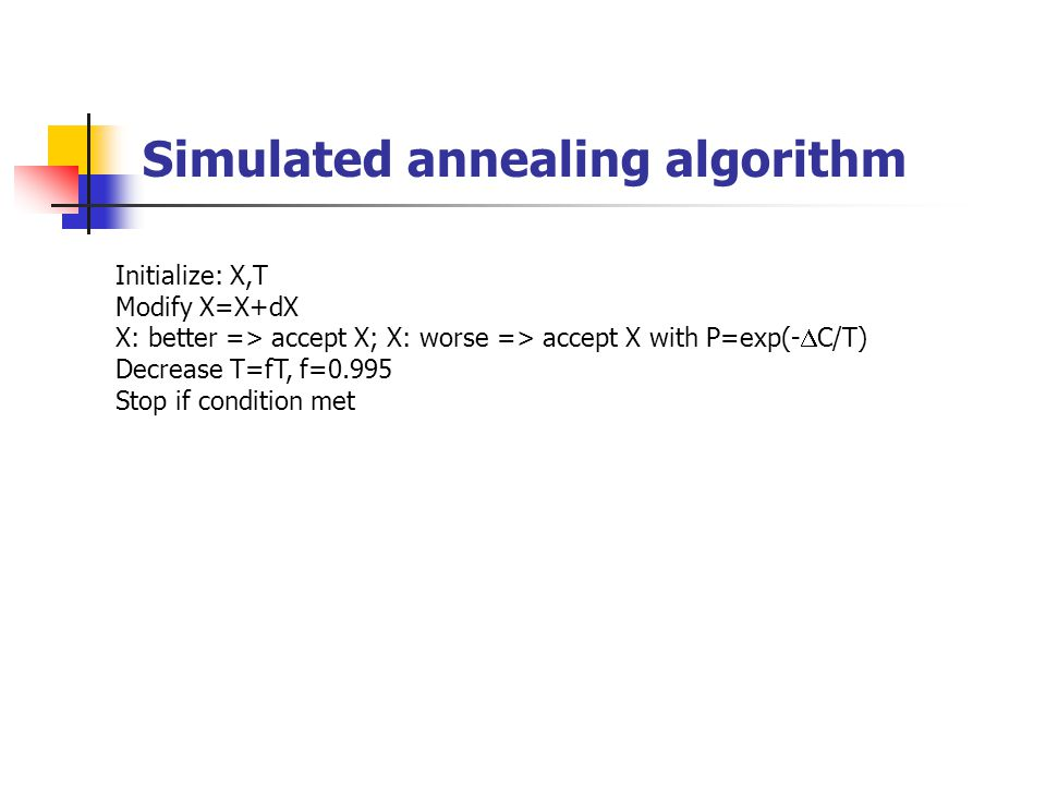 Simulated annealing algorithm Initialize: X,T Modify X=X+dX X: better => accept X; X: worse => accept X with P=exp(-  C/T) Decrease T=fT, f=0.995 Sto