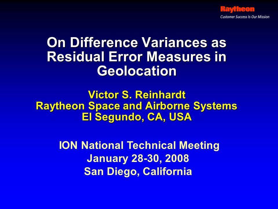 On Difference Variances as Residual Error Measures in Geolocation Victor S.
