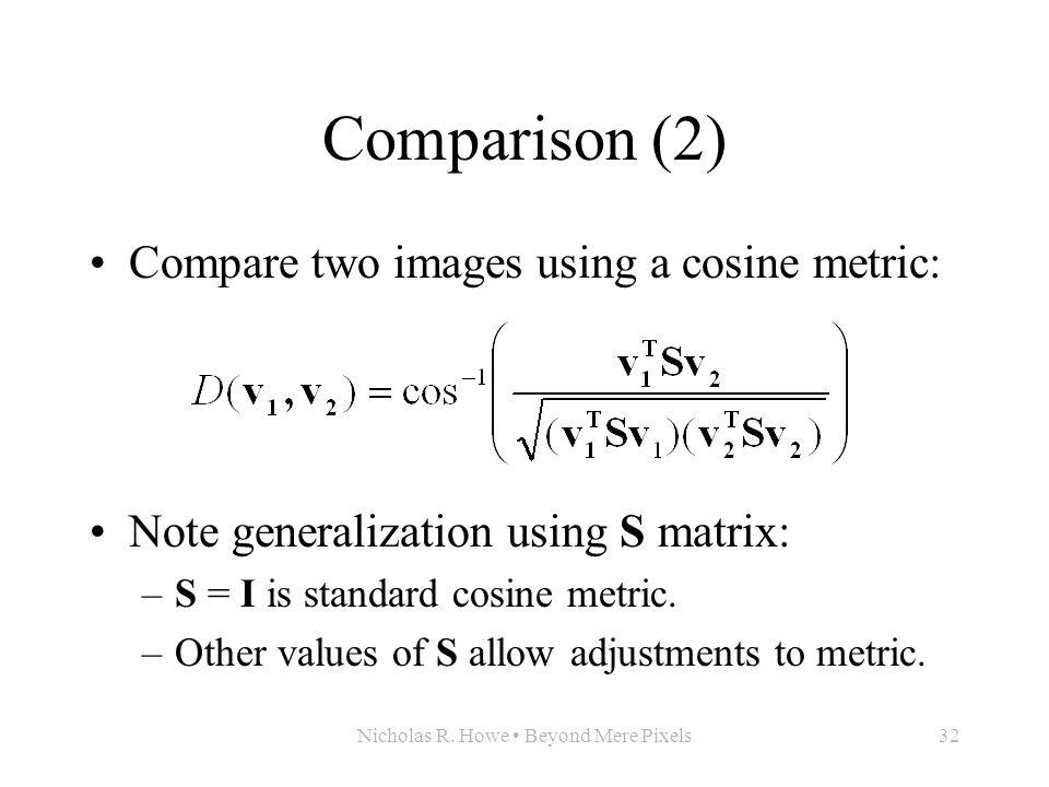 Nicholas R. Howe Beyond Mere Pixels32 Comparison (2) Compare two images using a cosine metric: Note generalization using S matrix: –S = I is standard