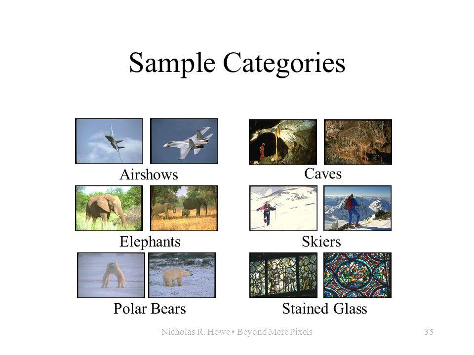 Nicholas R. Howe Beyond Mere Pixels35 Sample Categories AirshowsElephantsPolar Bears Caves SkiersStained Glass