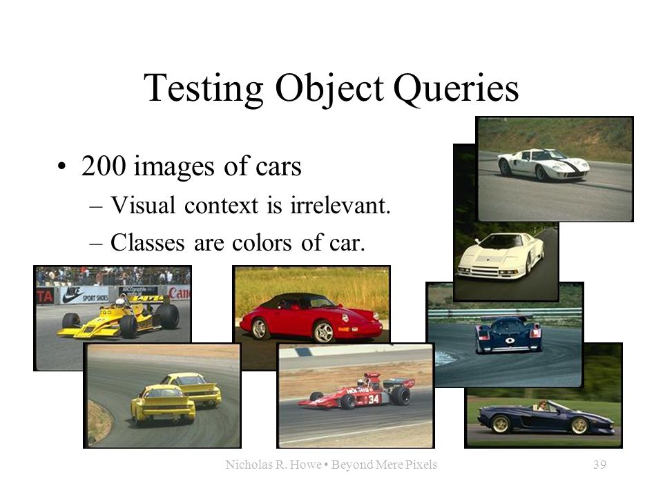 Nicholas R. Howe Beyond Mere Pixels39 Testing Object Queries 200 images of cars –Visual context is irrelevant. –Classes are colors of car.