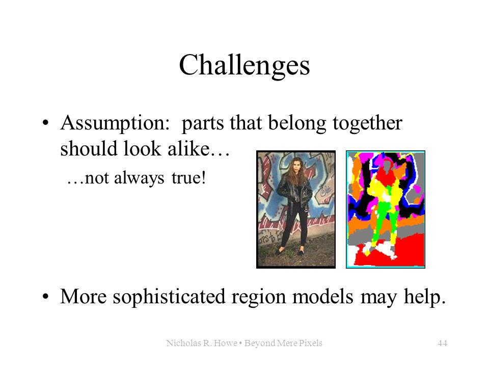 Nicholas R. Howe Beyond Mere Pixels44 Challenges Assumption: parts that belong together should look alike… …not always true! More sophisticated region