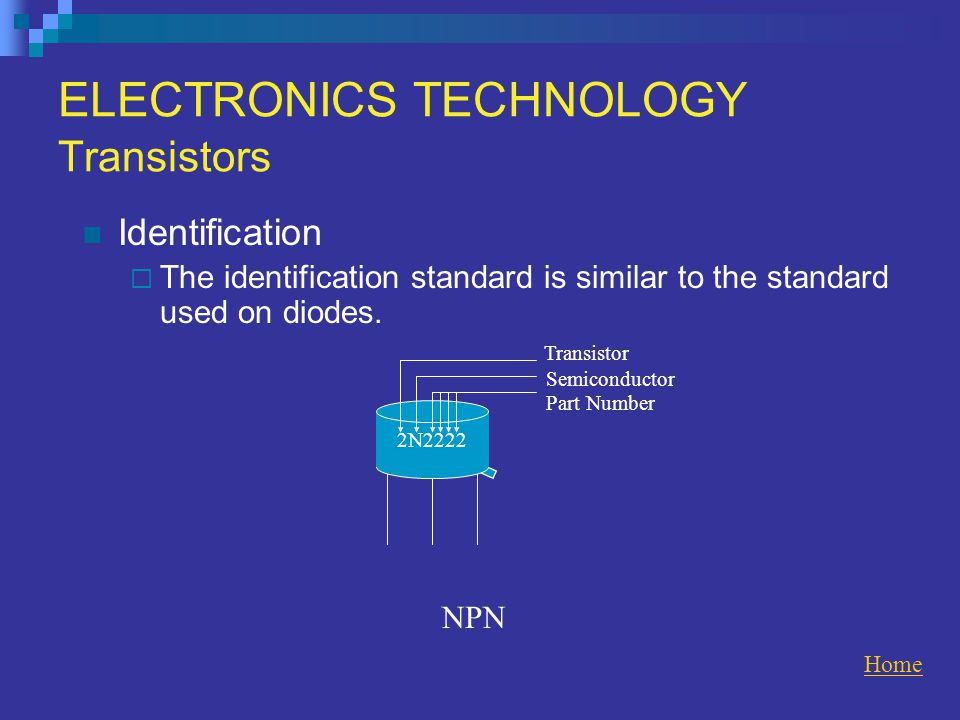 ELECTRONICS TECHNOLOGY Transistors Identification  The identification standard is similar to the standard used on diodes.