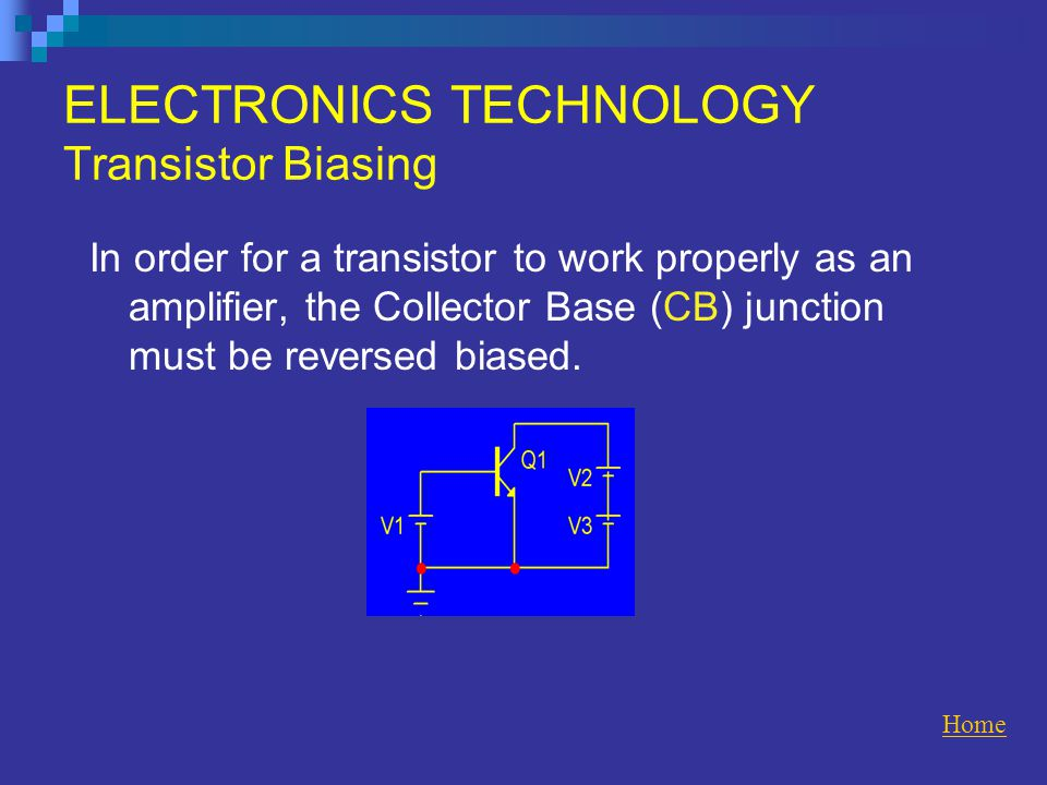 ELECTRONICS TECHNOLOGY Transistor Biasing In order for a transistor to work properly as an amplifier, the Collector Base (CB) junction must be reversed biased.