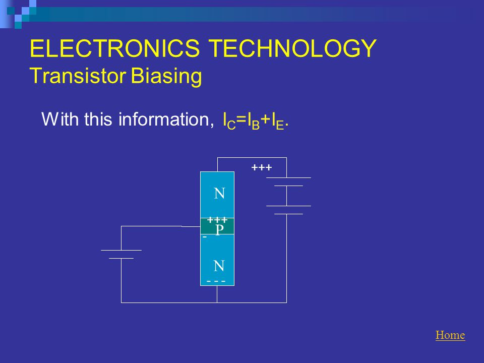ELECTRONICS TECHNOLOGY Transistor Biasing With this information, I C =I B +I E.