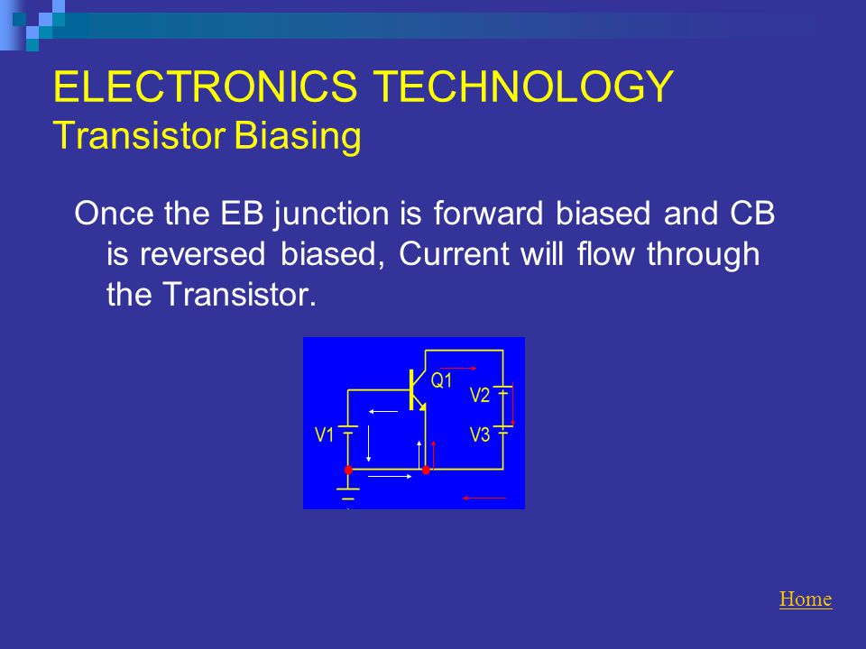 ELECTRONICS TECHNOLOGY Transistor Biasing Once the EB junction is forward biased and CB is reversed biased, Current will flow through the Transistor.