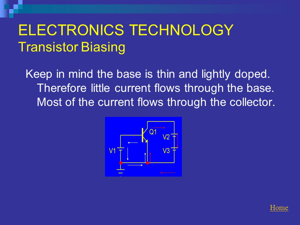 ELECTRONICS TECHNOLOGY Transistor Biasing Keep in mind the base is thin and lightly doped.