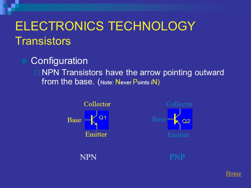 ELECTRONICS TECHNOLOGY Transistors Configuration  NPN Transistors have the arrow pointing outward from the base.