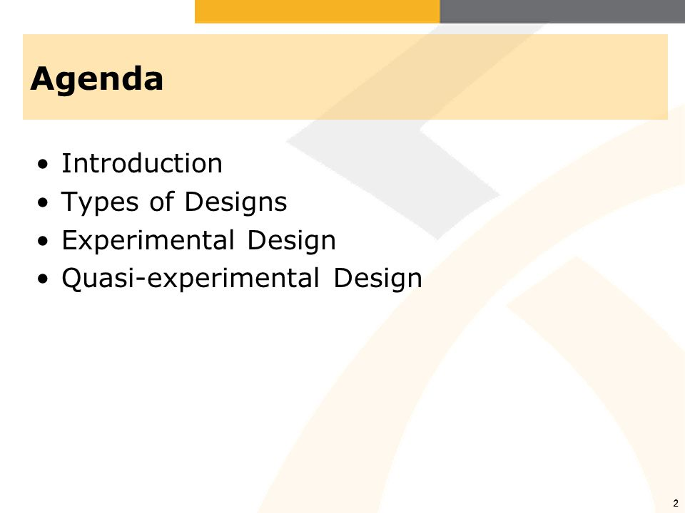 3 Introduction Research design –A plan for providing a sound, possibly conclusive answer to your research question –Varies greatly depending on research question and methods of data collection Elements of a research design –Observations/measures –Treatment/program –Groups –Assignment to group –Time
