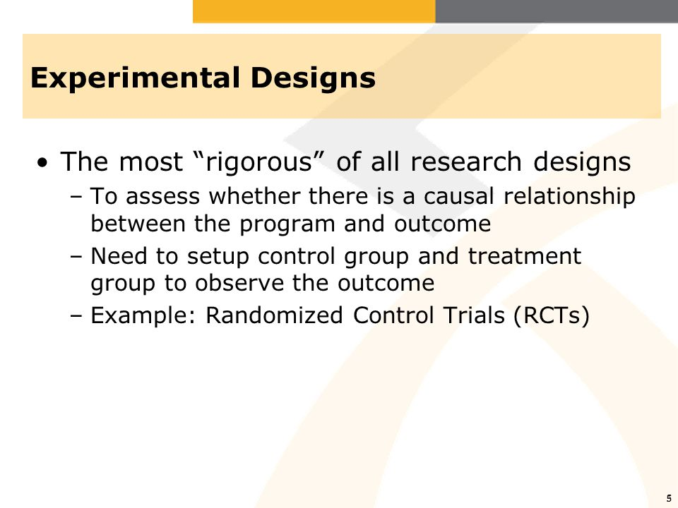 6 Quasi-experimental Designs Same as an experimental design but lacks random assignment –Non-equivalent group design: use of 2 intact groups we think are similar as treatment and control  Use simple difference –Regression-discontinuity design: participants are assigned to treatment/control group based on a pre-specified cutoff score 6
