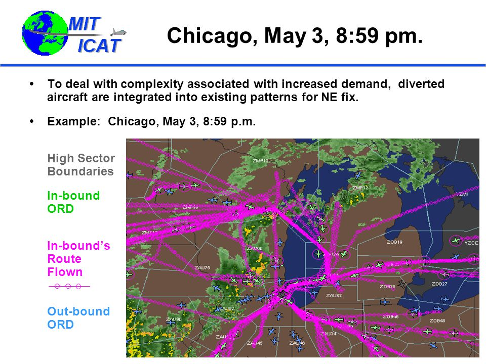 Chicago, May 3, 8:59 pm.  To deal with complexity associated with increased demand, diverted aircraft are integrated into existing patterns for NE fi