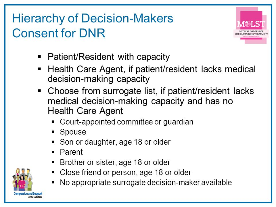 16 Hierarchy of Decision-Makers Consent for DNR  Patient/Resident with capacity  Health Care Agent, if patient/resident lacks medical decision-making capacity  Choose from surrogate list, if patient/resident lacks medical decision-making capacity and has no Health Care Agent  Court-appointed committee or guardian  Spouse  Son or daughter, age 18 or older  Parent  Brother or sister, age 18 or older  Close friend or person, age 18 or older  No appropriate surrogate decision-maker available