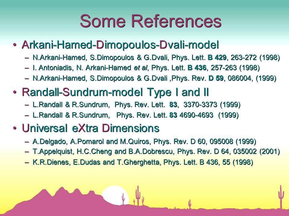 Some References Arkani-Hamed-Dimopoulos-Dvali-model – N.Arkani-Hamed, S.Dimopoulos & G.Dvali, Phys.