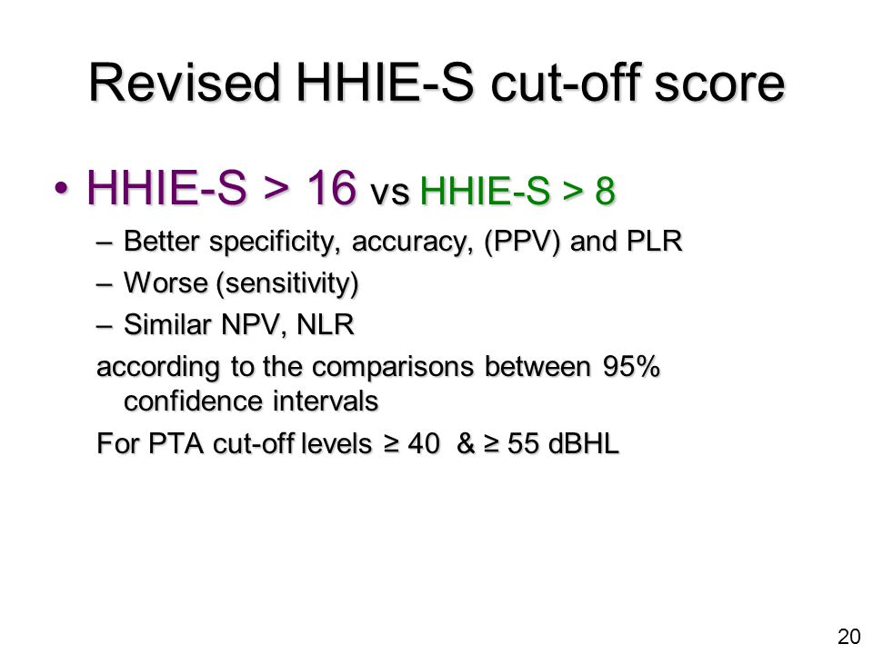 20 Revised HHIE-S cut-off score HHIE-S > 16 vs HHIE-S > 8HHIE-S > 16 vs HHIE-S > 8 –Better specificity, accuracy, (PPV) and PLR –Worse (sensitivity) –Similar NPV, NLR according to the comparisons between 95% confidence intervals For PTA cut-off levels ≥ 40 & ≥ 55 dBHL