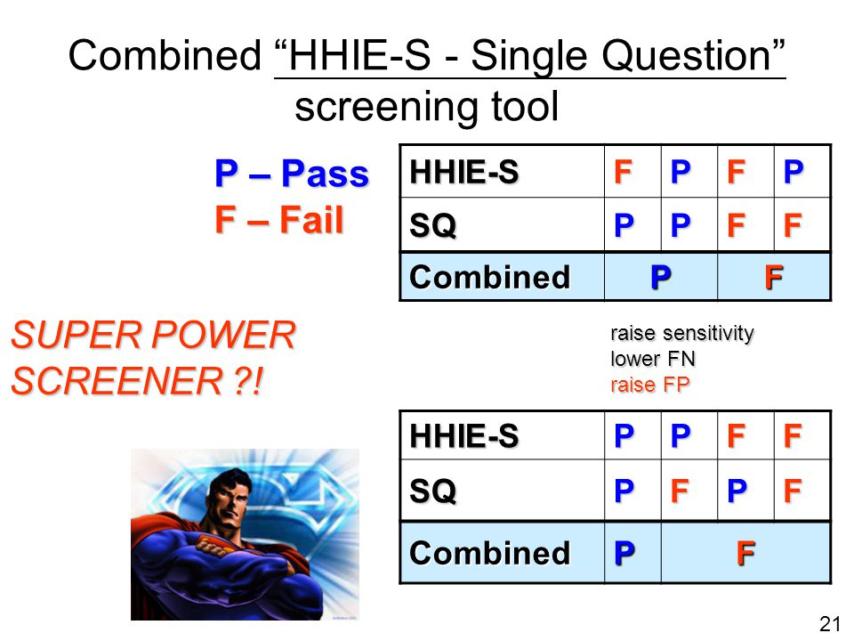 21 Combined HHIE-S - Single Question screening tool HHIE-SFPFP SQPPFF Combined PF HHIE-SPPFFSQPFPF CombinedPF P – Pass F – Fail SUPER POWER SCREENER .