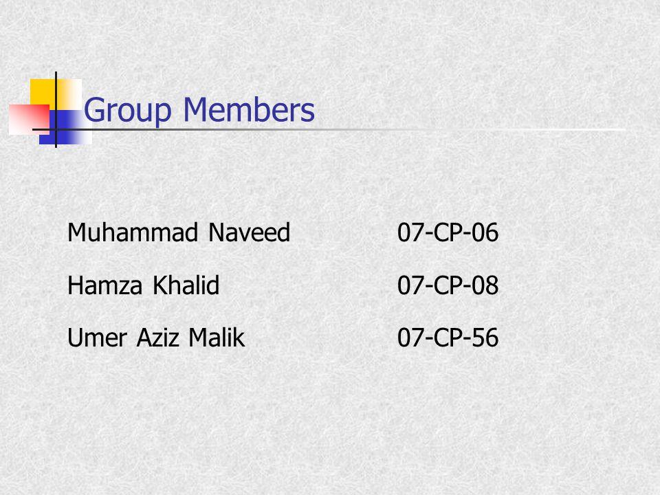 Group Members Muhammad Naveed07-CP-06 Hamza Khalid07-CP-08 Umer Aziz Malik07-CP-56
