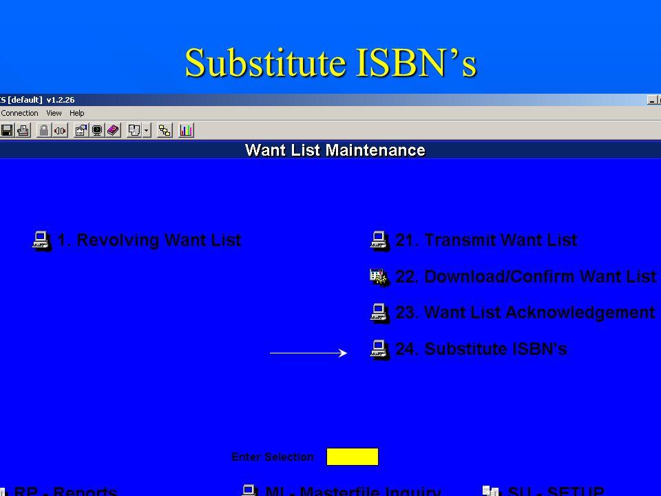 Substitute ISBN's