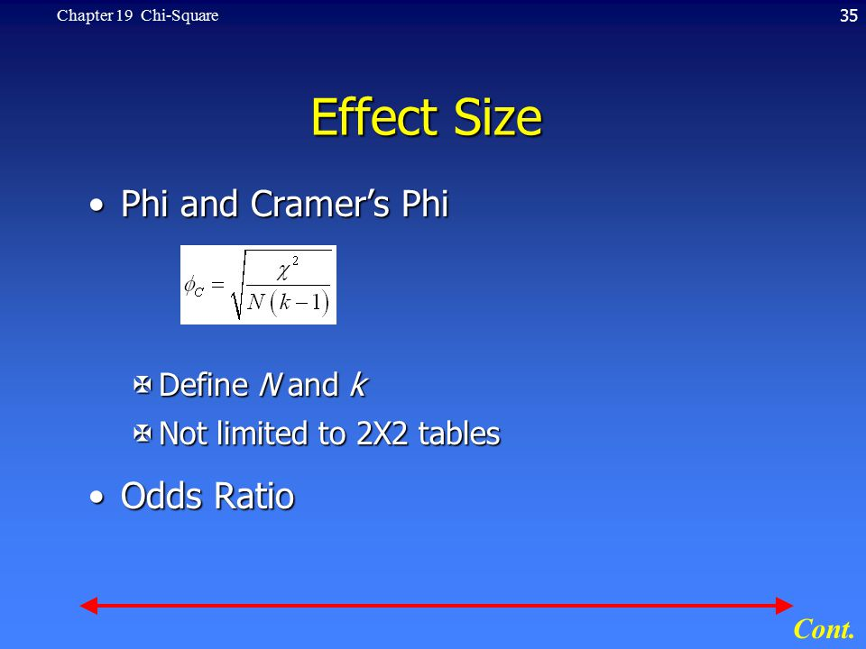 35Chapter 19 Chi-Square Effect Size Phi and Cramer's PhiPhi and Cramer's Phi XDefine N and k XNot limited to 2X2 tables Odds RatioOdds Ratio Cont.