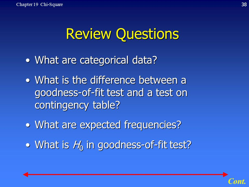 38Chapter 19 Chi-Square Review Questions What are categorical data?What are categorical data.