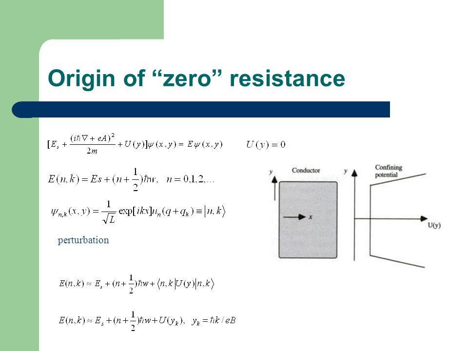 Origin of zero resistance perturbation