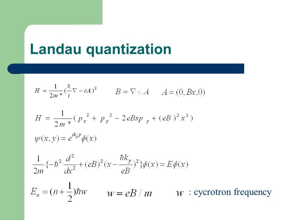 Landau quantization : cycrotron frequency
