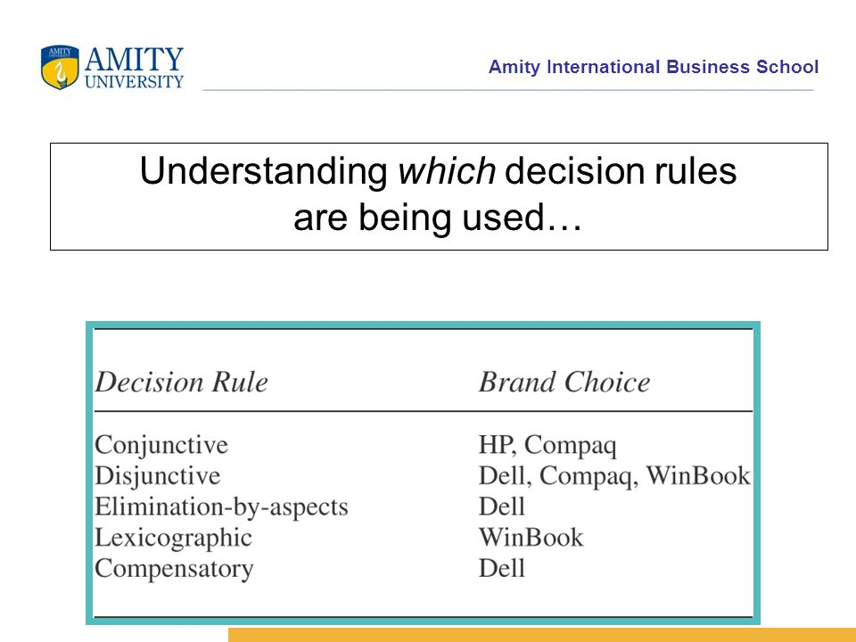 Amity International Business School Understanding which decision rules are being used…