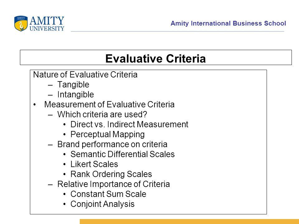 Amity International Business School Evaluative Criteria Nature of Evaluative Criteria –Tangible –Intangible Measurement of Evaluative Criteria –Which