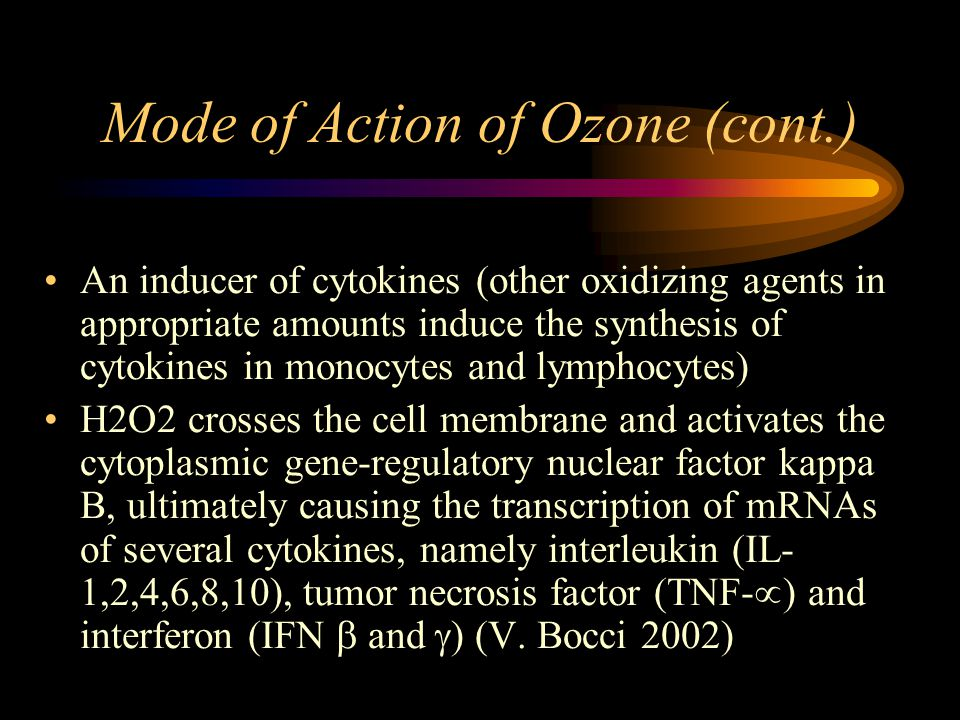 Mode of Action of Ozone (cont.) An inducer of cytokines (other oxidizing agents in appropriate amounts induce the synthesis of cytokines in monocytes and lymphocytes) H2O2 crosses the cell membrane and activates the cytoplasmic gene-regulatory nuclear factor kappa B, ultimately causing the transcription of mRNAs of several cytokines, namely interleukin (IL- 1,2,4,6,8,10), tumor necrosis factor (TNF-  ) and interferon (IFN  and  ) (V.