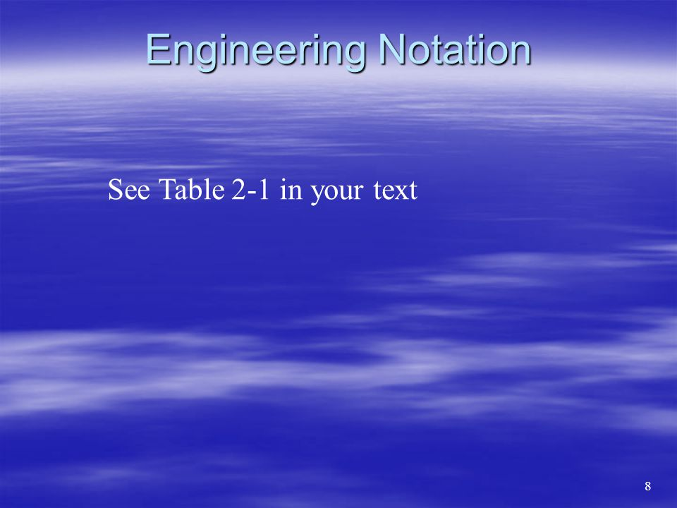 Engineering Notation See Table 2-1 in your text 8