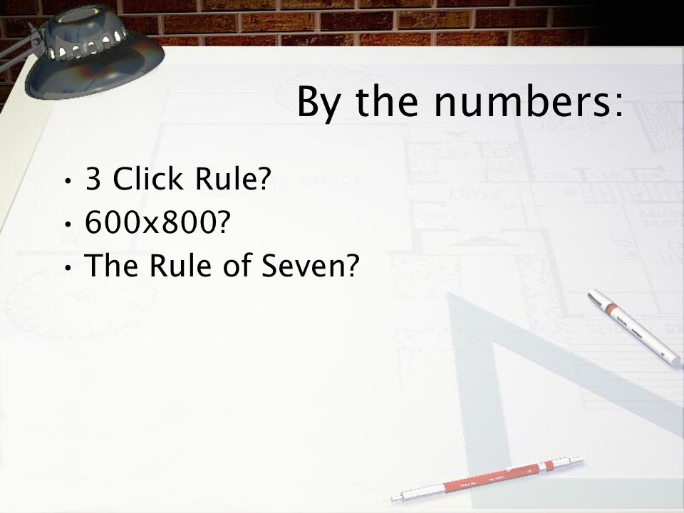 By the numbers: 3 Click Rule? 600x800? The Rule of Seven?