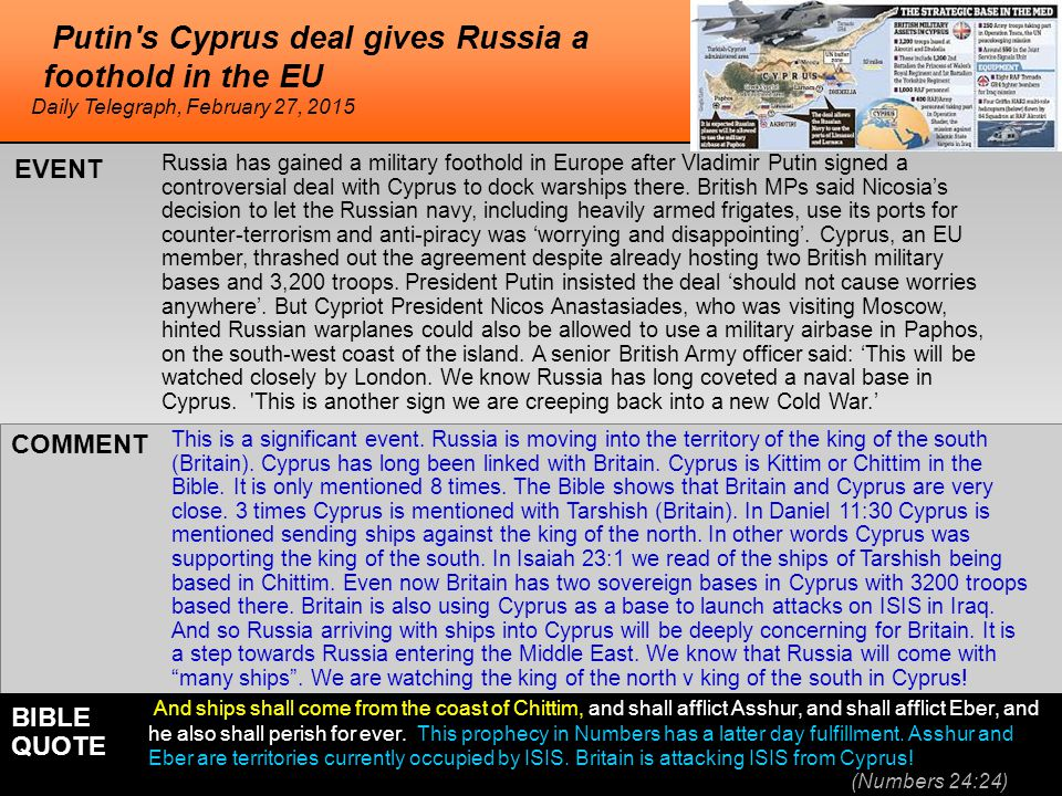 he Putin's Cyprus deal gives Russia a foothold in the EU Russia has gained a military foothold in Europe after Vladimir Putin signed a controversial d
