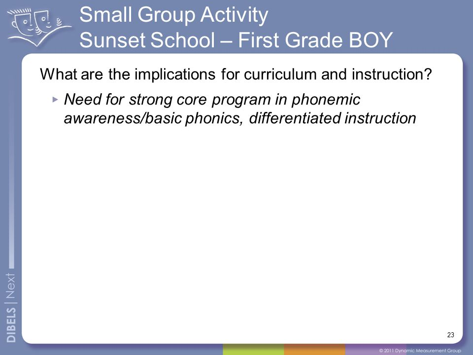 Small Group Activity Sunset School – First Grade BOY 23 What are the implications for curriculum and instruction.