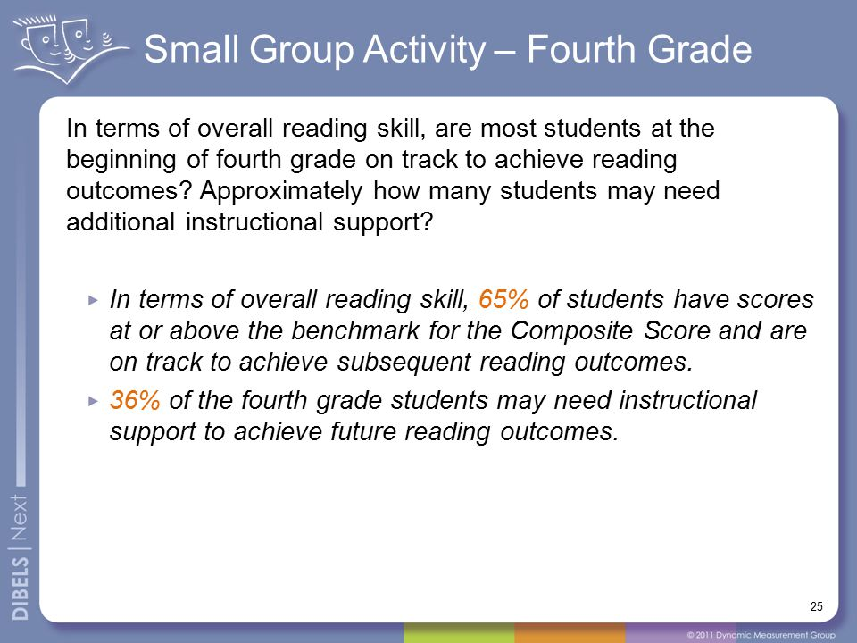 Small Group Activity – Fourth Grade 25 In terms of overall reading skill, are most students at the beginning of fourth grade on track to achieve readi